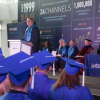 JetBlue's Chief Executive Officer and President, Robin Hayes congratulates the first graduates of JetBlue's employer-sponsored college degree program.
