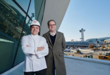 Jean-Georges Vongerichten and MCR CEO Tyler Morse at the TWA Hotel.