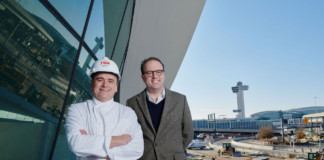 Jean-Georges Vongerichten and MCR CEO Tyler Morse at the TWA Hotel.