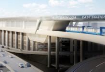 Rendition of Air train stop at LaGuardia Airport