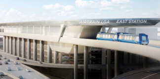 Rendition of Air train stop at LaGuardia Airport