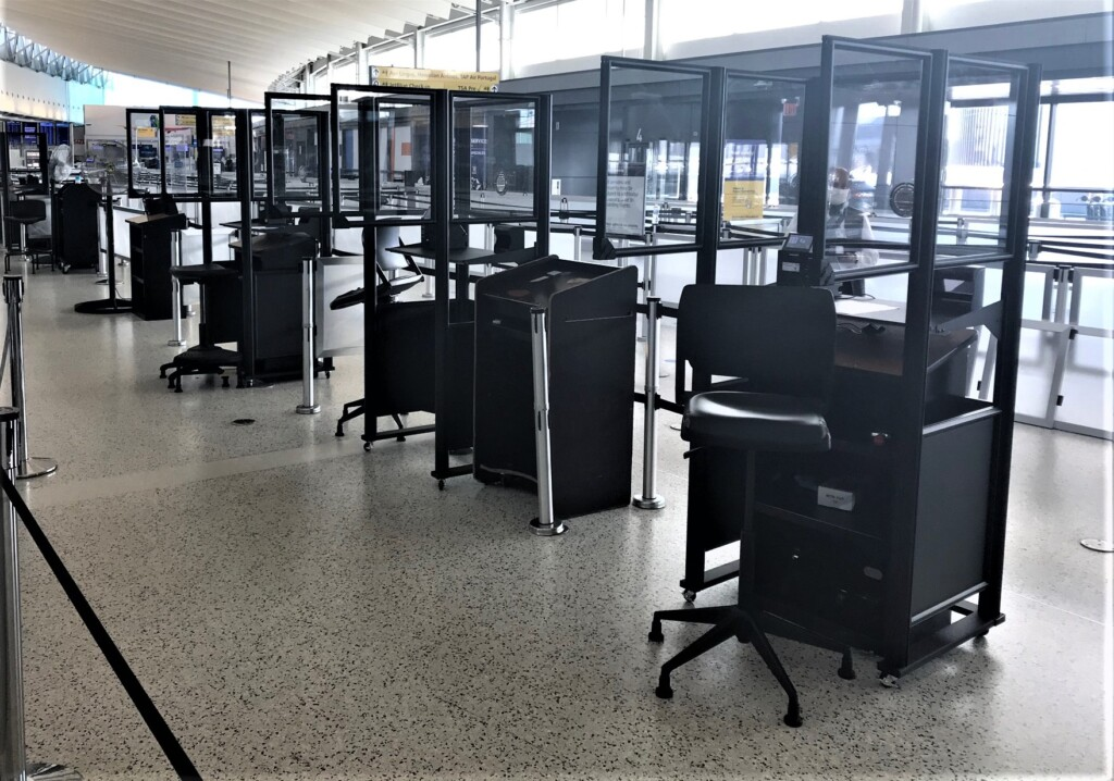 Acrylic barriers newly installed at JFK 1