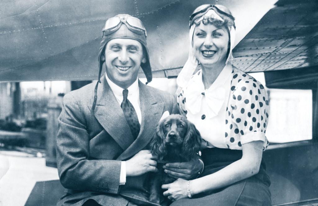 Alexander de Seversky, wife Evelyn and do 'Vodka', SEV 3 in background c.1933