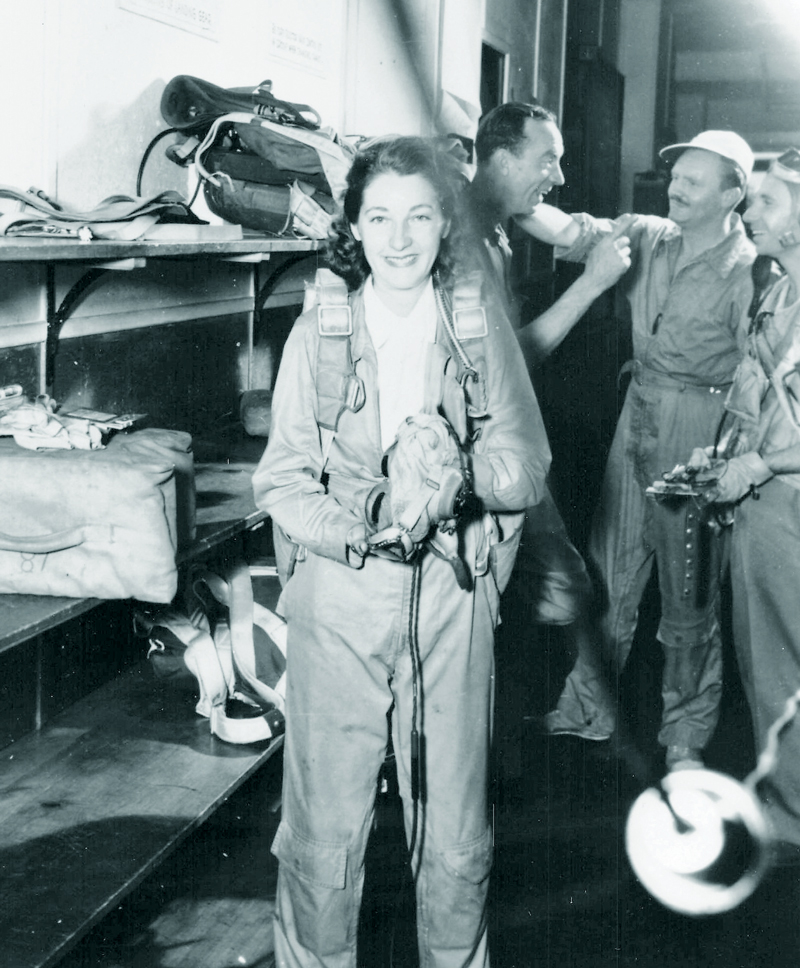 Barbara Kibbee in equipment room Bethpage, NY c.1943.