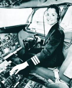 Bonnie Tiburzi, 1st female pilot for a major commercial airline in 1973.