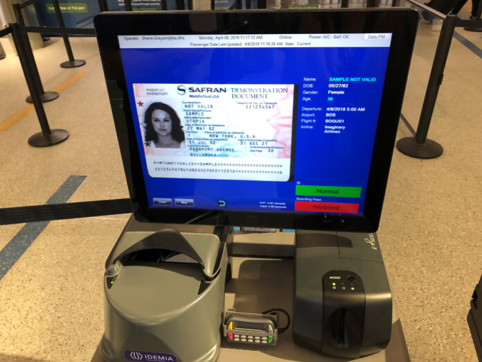 A CAT unit reads a passport that was inserted into the unit and indicates that this ID is valid as indicated by the green bar in the lower right-hand corner of the screen. (TSA photo)