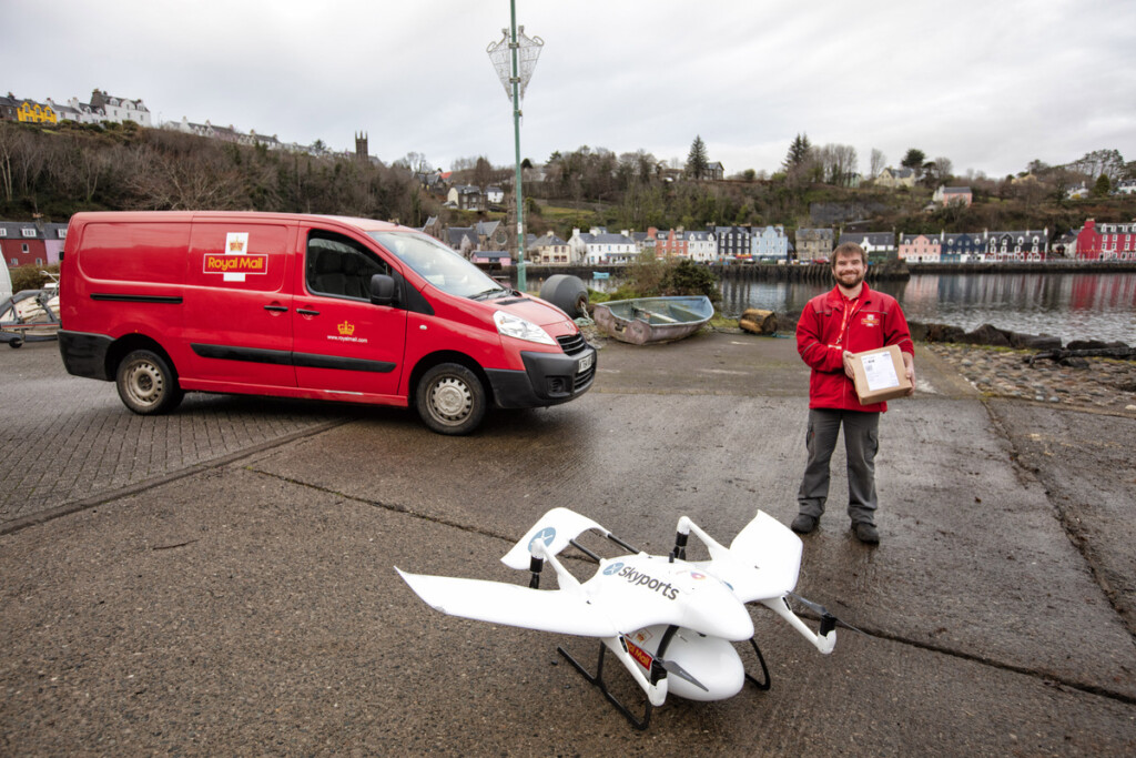 Last year, the company delivered its first parcel via drone to a remote Scottish lighthouse. Photo: Chris Gorman – Royal Mail.