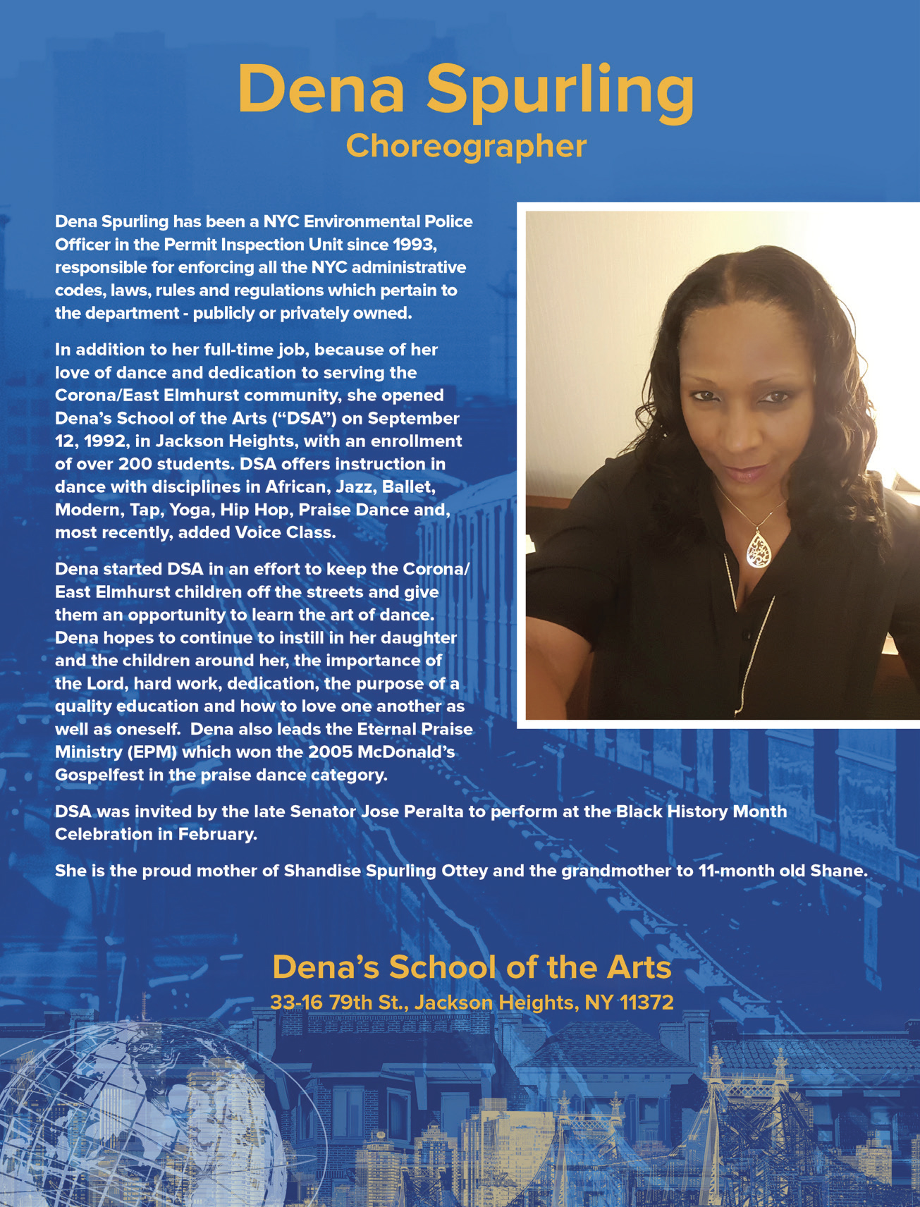 Dena Spurling, Choreographer and NYC Environmental Police Officer.