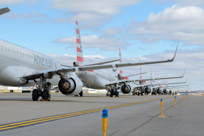 American Airlines planes parked In Mobile, Alabama