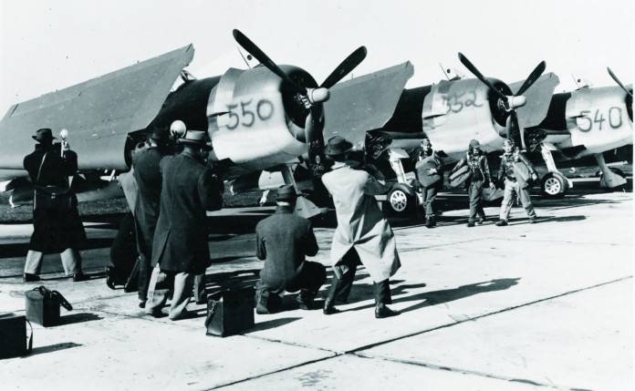 Grumman F6F flightline Hooker, Kenyon, and Kibbee, Bethpage, NY