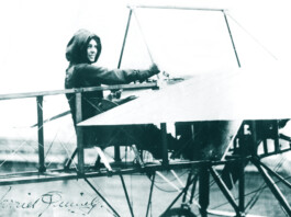 Harriet Quimby, in Moisant monoplane, Moisant Aviation School, Mineola L.I. 1911.