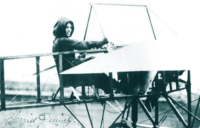 Harriet Quimby, in Moisant monoplane, Moisant Aviation School, Mineola L.I. 1911.