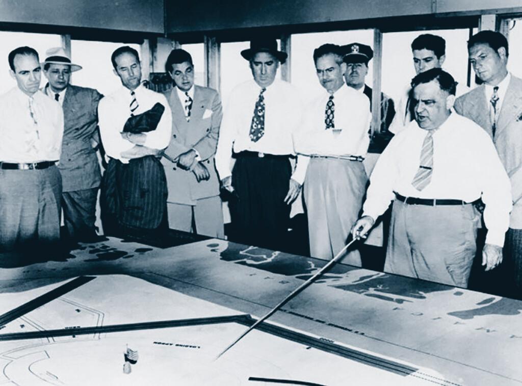 Idlewild - Mayor LaGuardia going over JFK plans with Port Authority.