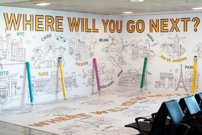 JFK Terminal 4 Launches Life-sized Coloring Book for Airport Travelers
