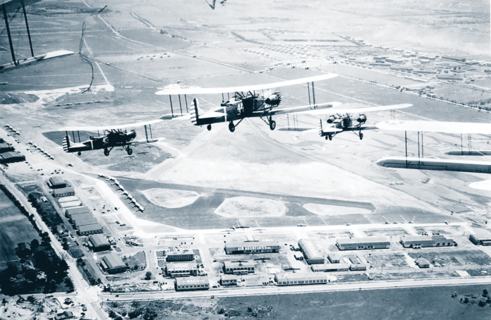 Military aircraft approaching Roosevelt after the government began using the airport in 1931.