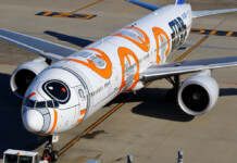ANA Boeing 777-300 BB-8 themed livery.