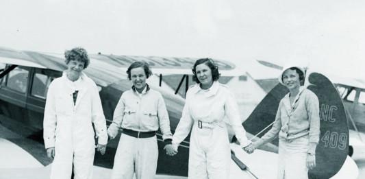 Ninety-Nines roller skating party, 6-16-1933 Roosevelt Field (L-R) Amelia Earhart, Novetah Holmes, Frances Marsalis, Betty H. Gillies.