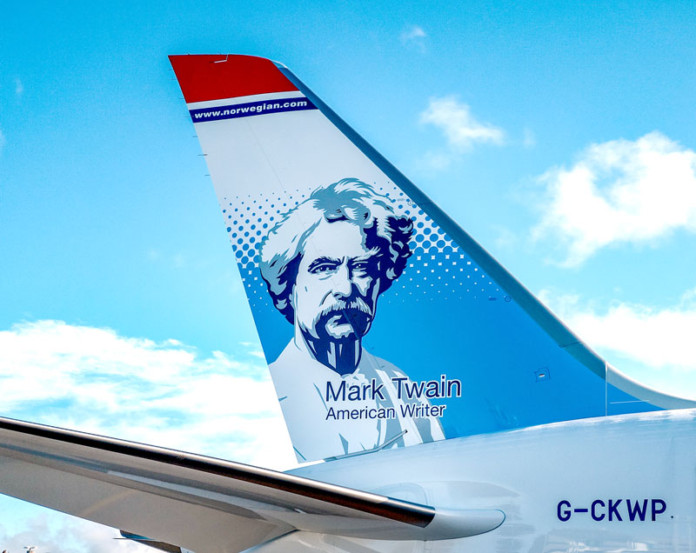 Mark Twain Norwegian's New Tailfin Hero