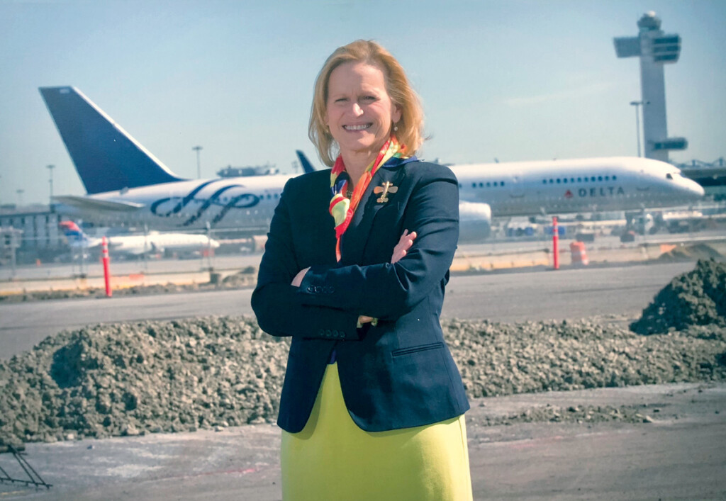 Former Port Authority Aviation Director Susan Baer on the runway at JFK.