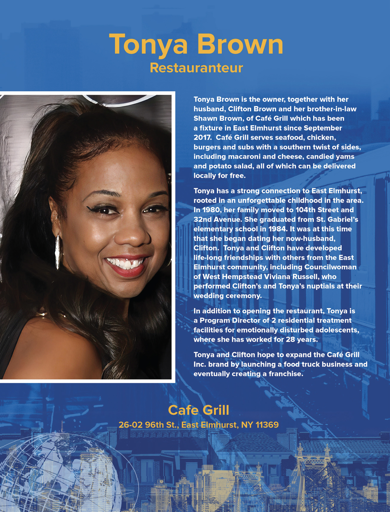 Toyna Brown, Restauranteur and co-owner of Café Grill