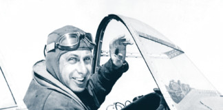 Alexander de Seversky in cockpit before record flight to Havana, Cuba, Dec. 1937.