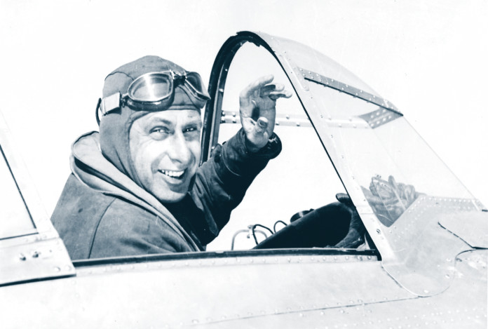 Alexander de Seversky in cockpit before record flight to Havana, Cuba, Dec. 1937.